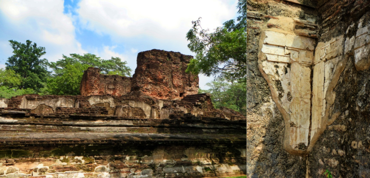 collage photo showing the ruins of the palace and what's left of the limestone plaster walls