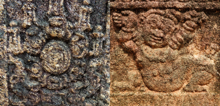 collage of two carvings in the public audience hall of king parakramabahu in Polonnaruwa
