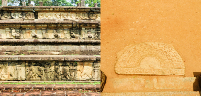 collage of various stone carvings on the steps and the walls of the royal audience hall in Polonnaruwa