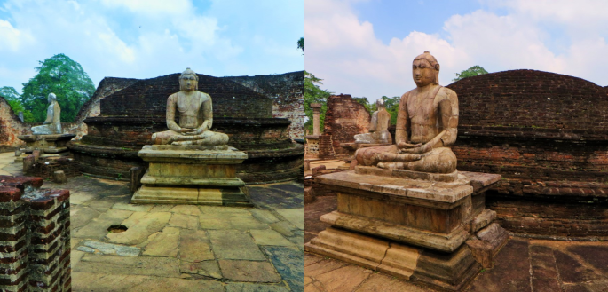 collage of two of seated Buddhas surrounding the large circular stupa face the four entrances to the vatadage