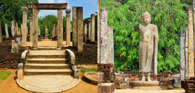 collage of the temple in Atadage and the Buddha statue inside in the sacred quadrangle in Polonnaruwa