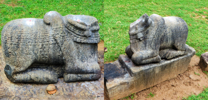 collage of photos showing the stone statue of Nandi the bull