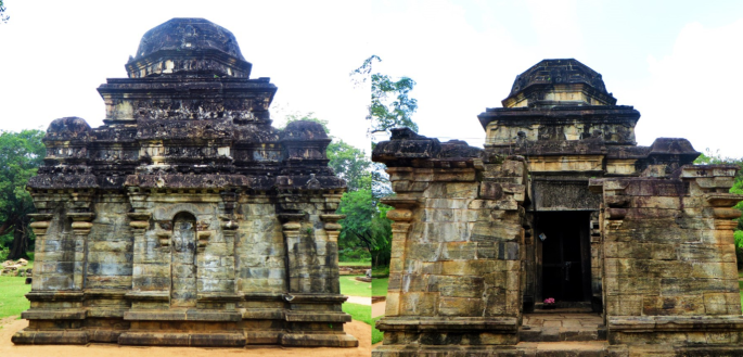 collage of the different views of the stone temple Shiva Devale