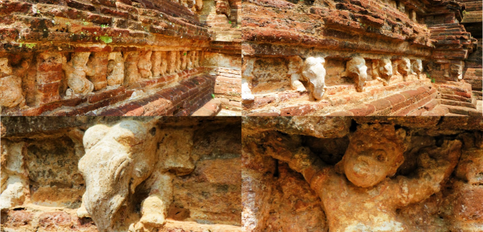 collage of photos showing the different stone sculptures surrounding the Rankoth Vehera