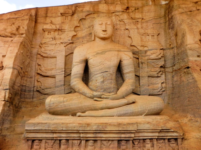 seated stone statue of Buddha in the dhyana mudra