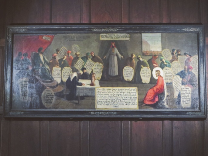 A painting inside the church