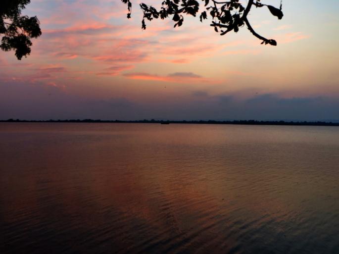 view of the lake and sky at the Polonnaruwa reservoir, Samudra Parakrama