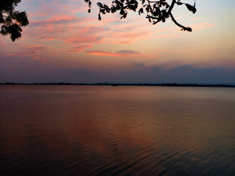 view of the lake and sky at the Polonnaruwa reservoir, Samudra Parakrama