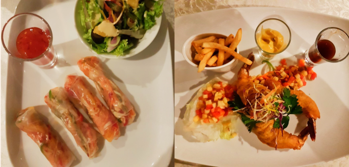 fresh spring rolls and battered prawns for appetizers