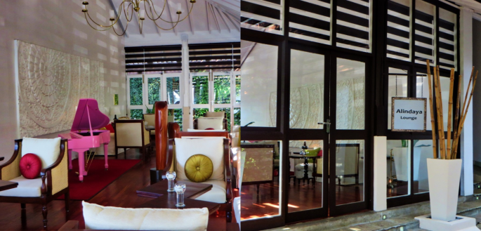 collage photos of the outside and inside of the Alindaya Lounge