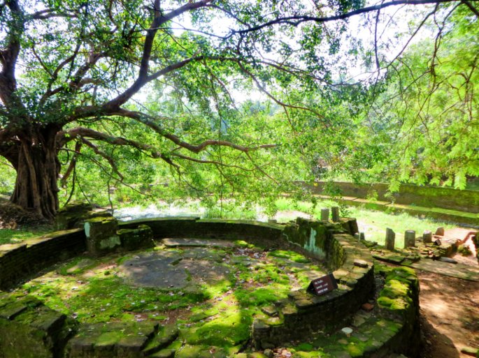 ancient dam covered by moss the by the reservoir in the King Nissankamalla Palace Complex of Polonnaruwa