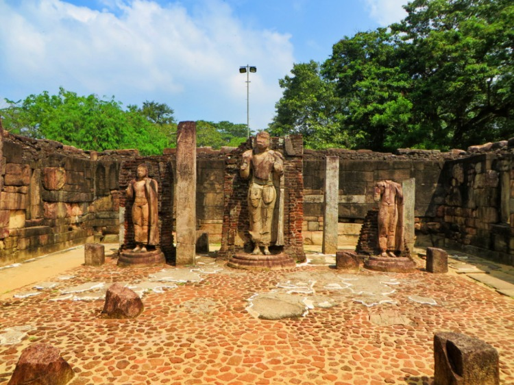 Buddha statues inside the temple of Hatadage, an ancient building in the sacred quadrangle of Polonnaruwa