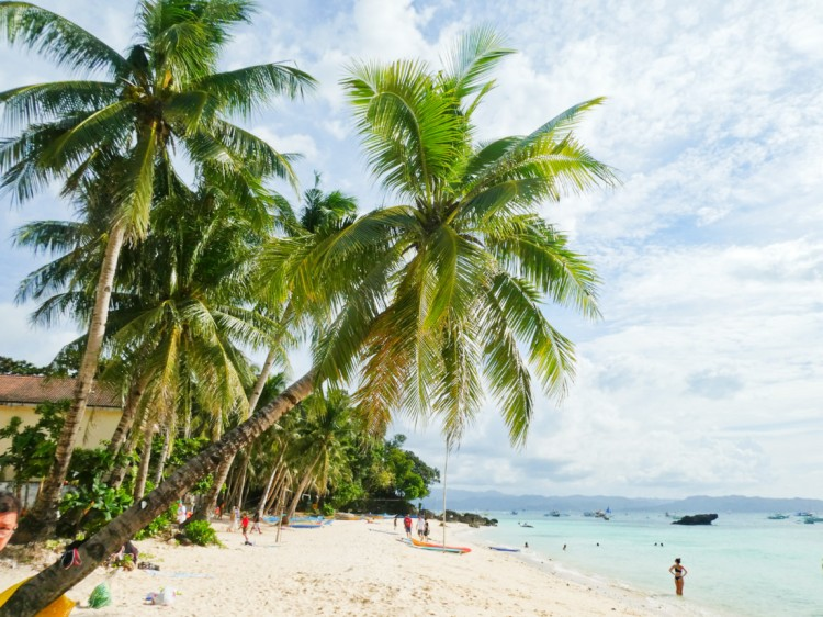 coconut trees, white sand, and blue waters of Diniwid Beach