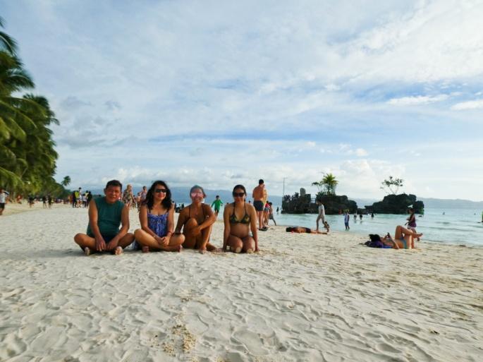 family photo on the beach