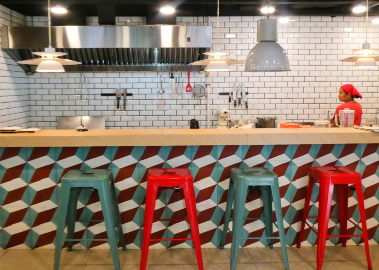 colorful diner counter and kitchen