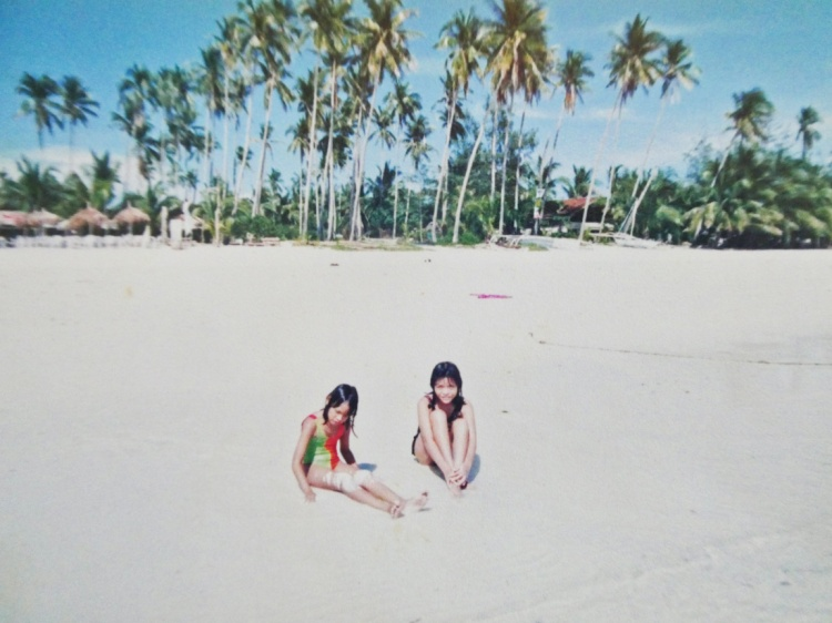 throwback photo of two sisters in Boracay island
