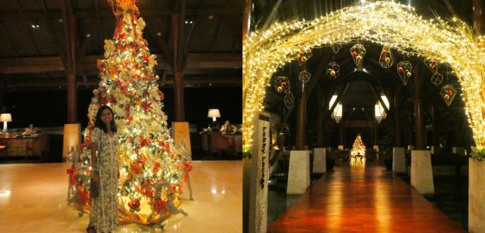 Christmas decor inside the resort