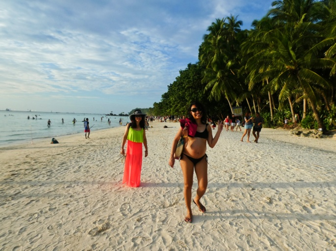 walking on the white sand beaches of the island