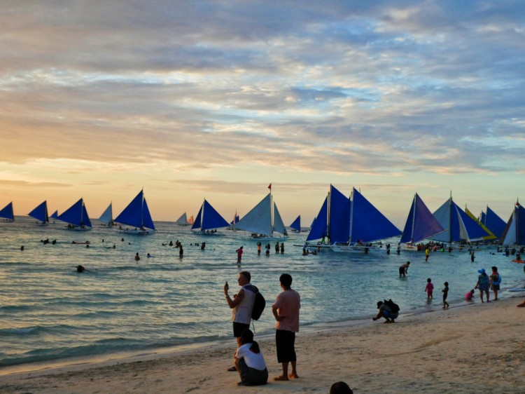 crowd of sailboats on the beach in sunset