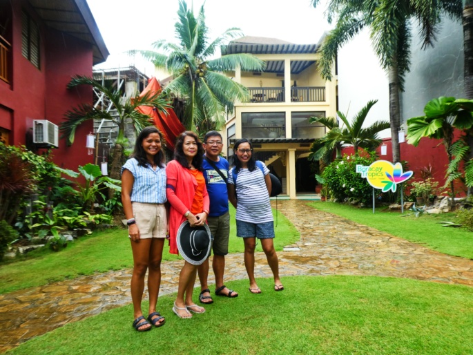 Family photo in the Boracay Tropics garden