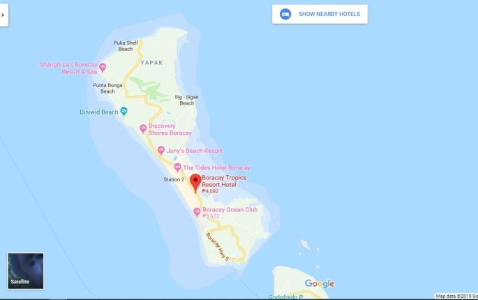 screenshot of boracay tropics location on google maps