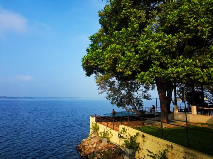 man looks at the lake at the edge of Ekho Lake House infinity pool